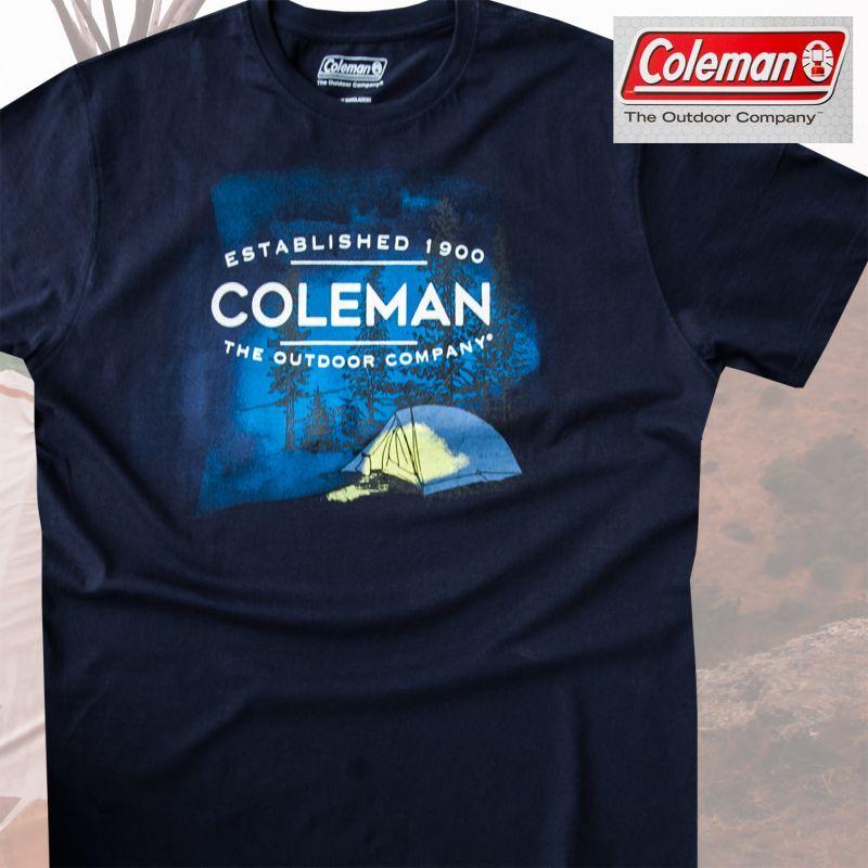 画像1: コールマン アウトドア キャンプ 半袖 Tシャツ(ネイビー)/Coleman T-shirt