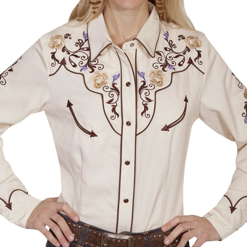 画像1: スカリー フローラル刺繍 ウエスタン シャツ(長袖/クリーム)M/Scully Long Sleeve Western Shirt(Women's) (1)