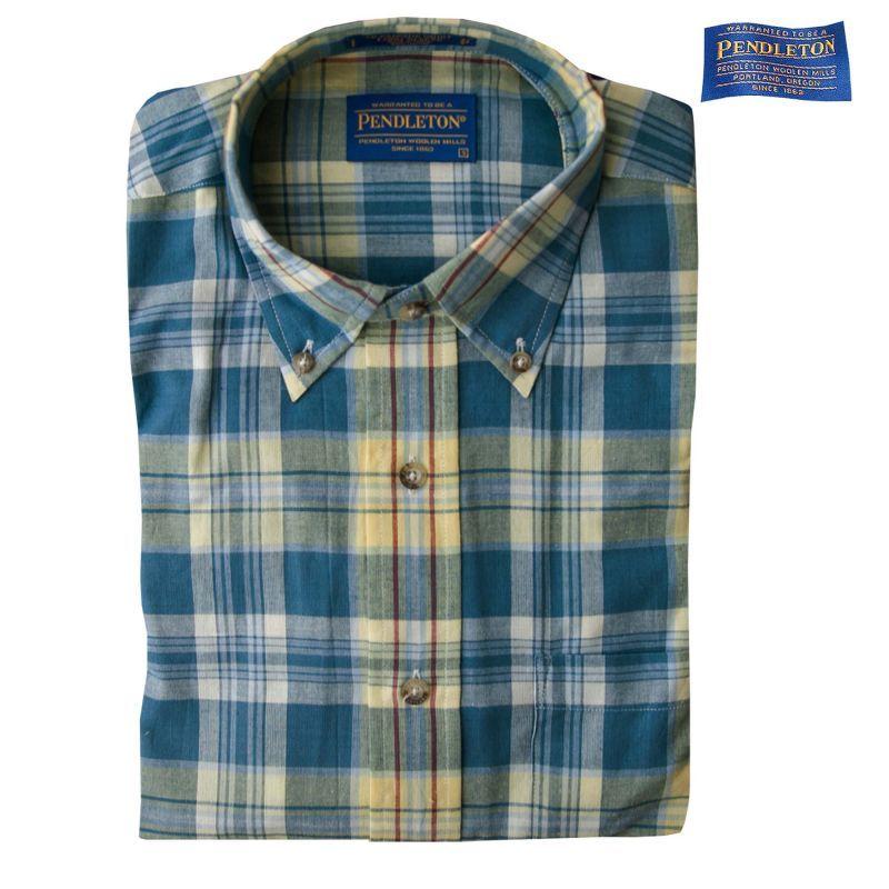 画像1: ペンドルトン オーシャンサイド シャツ ブルー・イエロー(長袖)S/Pendleton Long Sleeve Button-Down Shirt (1)