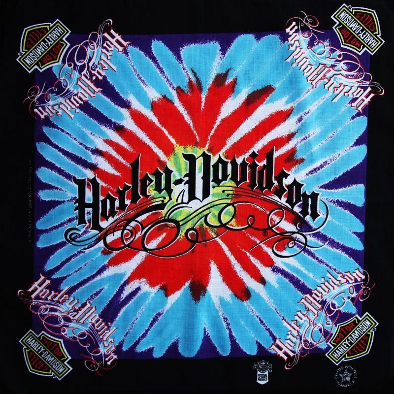 画像1: ハーレーダビッドソン バンダナ(ブラック・Harley-Davidson ターコイズ レッド)/Harley Davidson Bandana