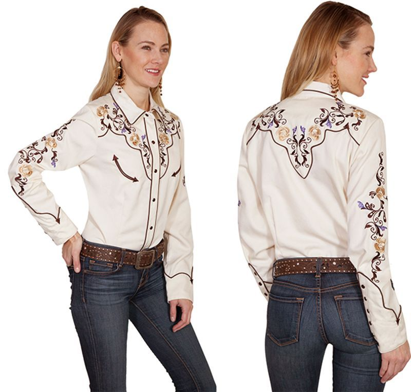 画像3: スカリー フローラル刺繍 ウエスタン シャツ(長袖/クリーム)M/Scully Long Sleeve Western Shirt(Women's)