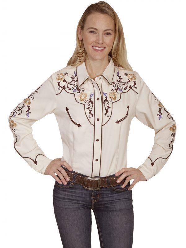 画像2: スカリー フローラル刺繍 ウエスタン シャツ(長袖/クリーム)M/Scully Long Sleeve Western Shirt(Women's)
