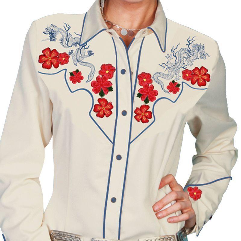 画像1: スカリー 刺繍 ウエスタン シャツ(長袖/クリーム・赤い花)M/Scully Long Sleeve Western Shirt(Women's)