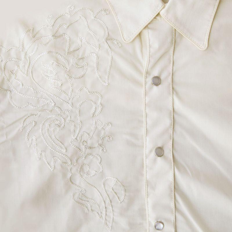 画像3: スカリー スナップフロント 刺繍 シャツ(長袖/ホワイト・フロント刺繍)/Scully Long Sleeve Embroidered Snap Front Shirt(Men's)