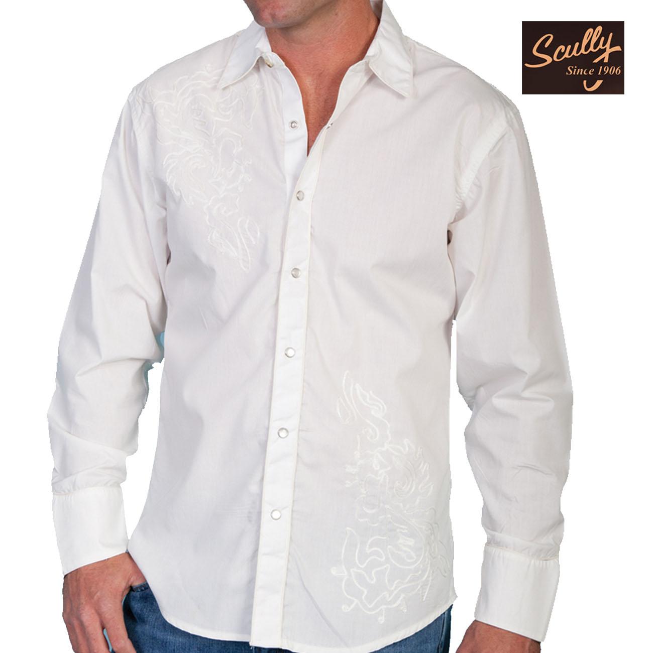 画像1: スカリー スナップフロント 刺繍 シャツ(長袖/ホワイト・フロント刺繍)/Scully Long Sleeve Embroidered Snap Front Shirt(Men's)
