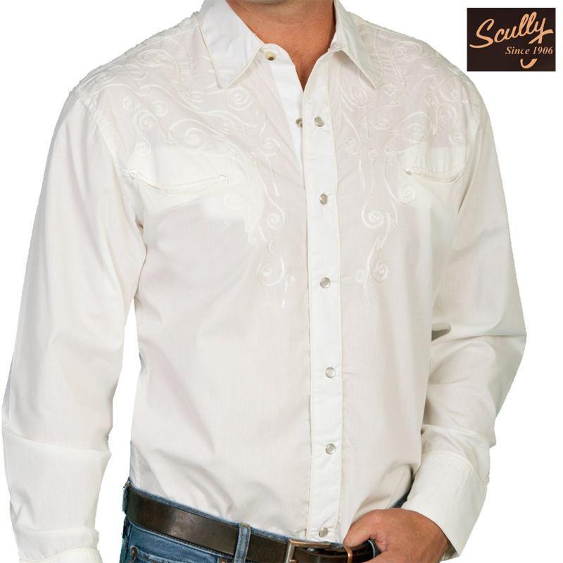 画像1: スカリー スナップフロント 刺繍 シャツ(長袖/ホワイト・フロント・バック刺繍)/Scully Long Sleeve Embroidered Snap Front Shirt(Men's)