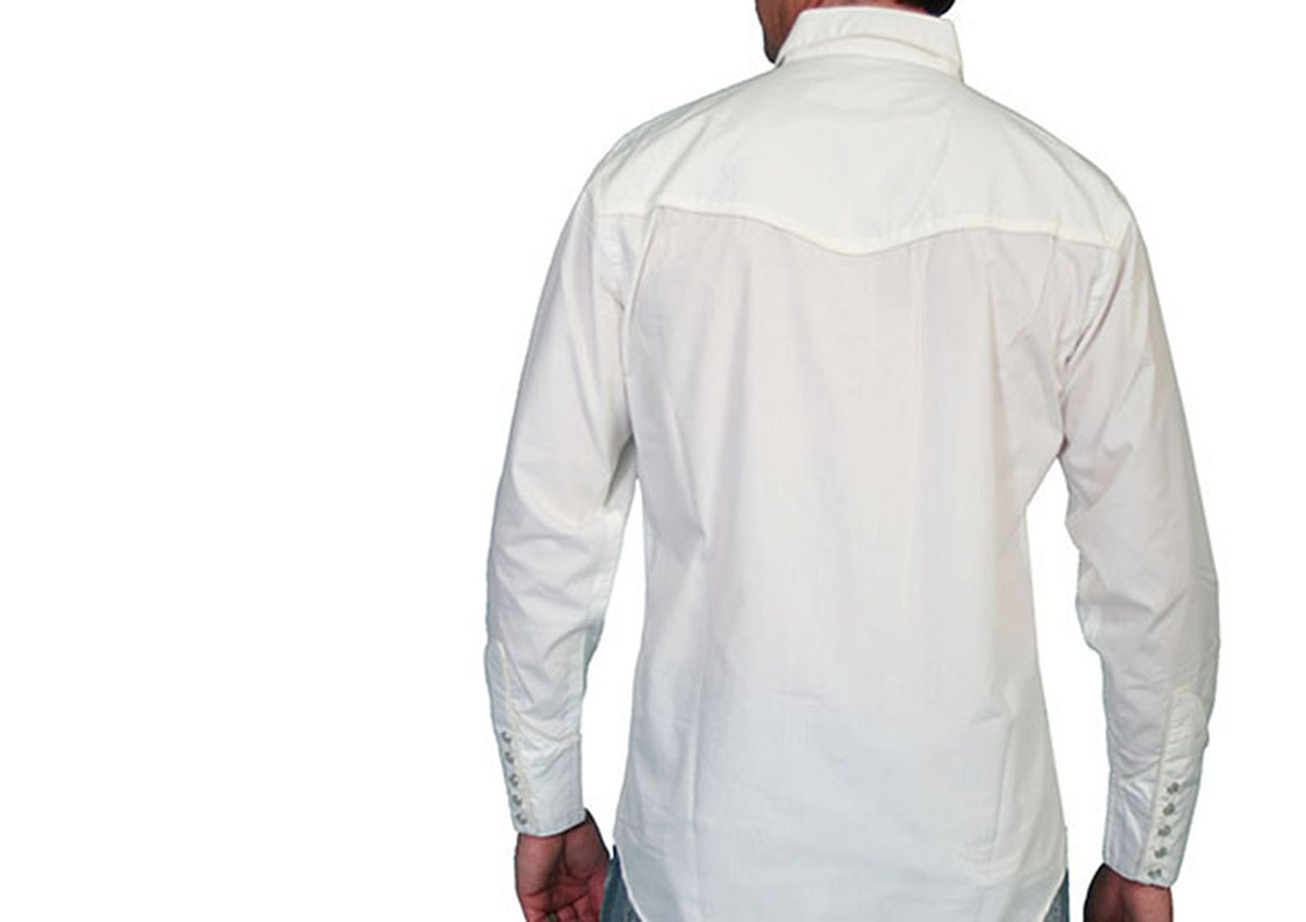 画像2: スカリー スナップフロント 刺繍 シャツ(長袖/ホワイト・フロント刺繍)/Scully Long Sleeve Embroidered Snap Front Shirt(Men's)