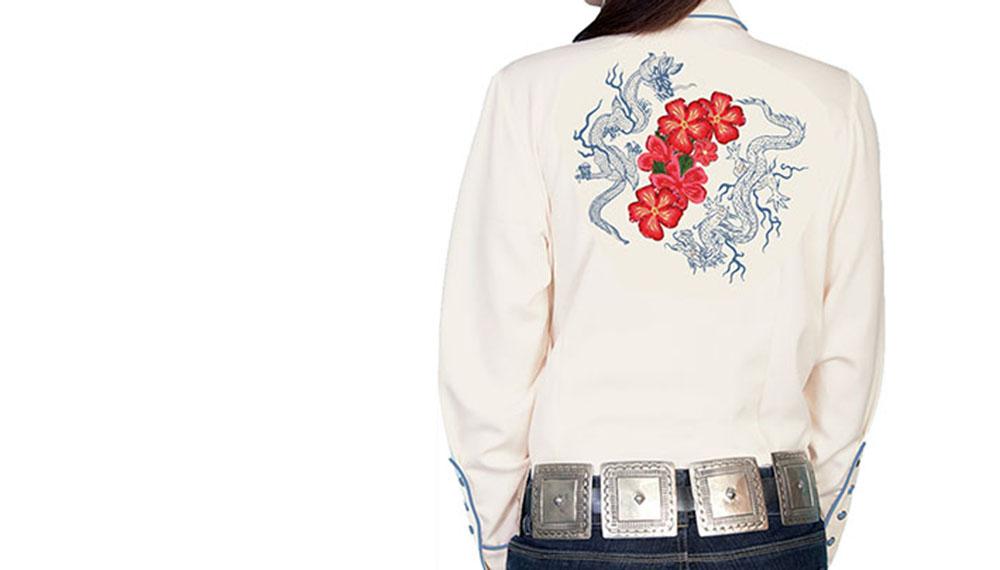 画像3: スカリー 刺繍 ウエスタン シャツ(長袖/クリーム・赤い花)M/Scully Long Sleeve Western Shirt(Women's)