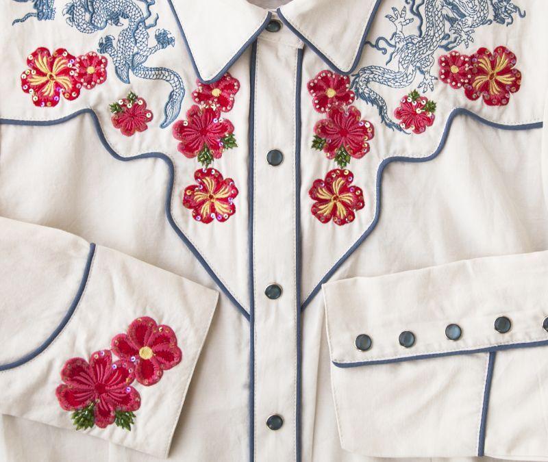 画像2: スカリー 刺繍 ウエスタン シャツ(長袖/クリーム・赤い花)M/Scully Long Sleeve Western Shirt(Women's)