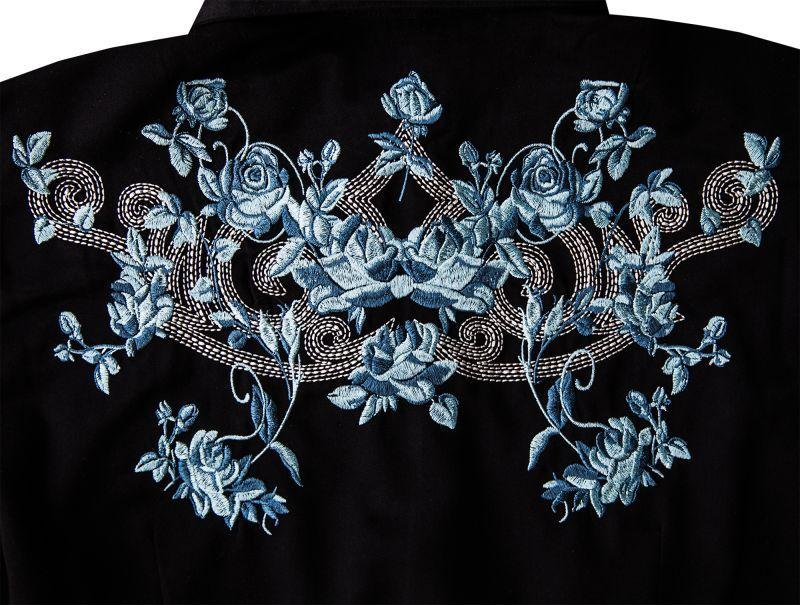 画像2: ローパー 刺繍 ウエスタンシャツ ブラック・ブルーローズ(長袖/レディース)/Roper Long Sleeve Western Shirt(Women's)