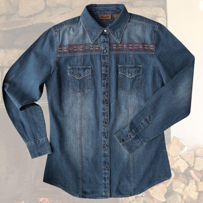 画像1: ラングラー ウエスタン 刺繍 デニム シャツ(長袖/レディース)/Wrangler Long Sleeve Western Denim Shirt(Women's)
