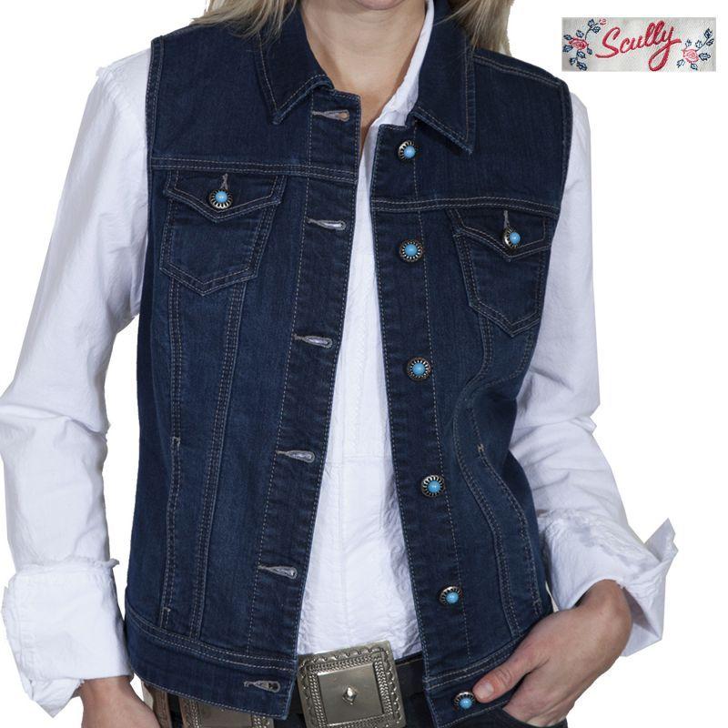 画像1: スカリー デニム ベスト(デニム・ターコイズ)S/Scully Denim Vest(Women's)