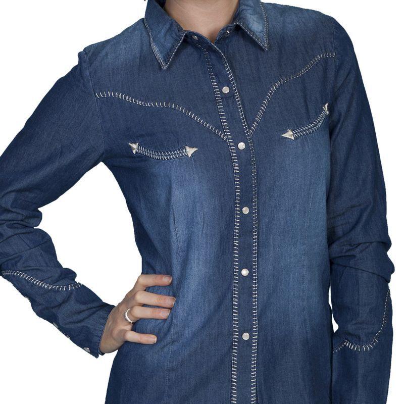 画像1: スカリー ウエスタン ウイップステッチ デニム シャツ(長袖/デニム)/Scully Long Sleeve Western Shirt(Women's)