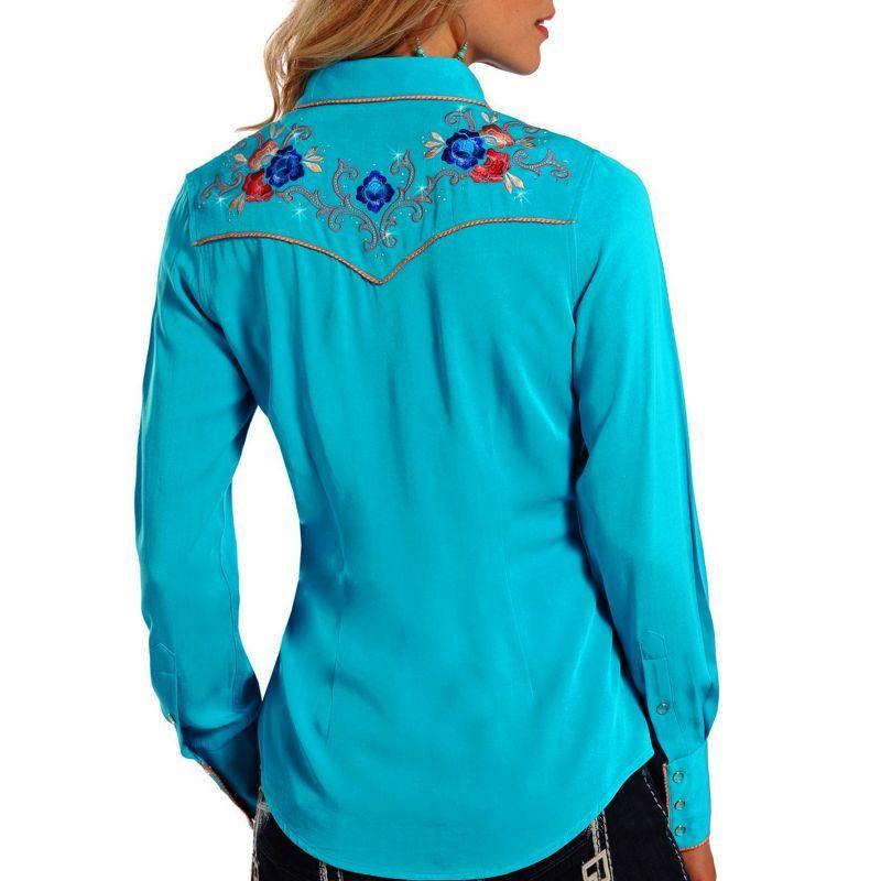 画像2: パンハンドルスリム フローラル刺繍・ラインストーン ウエスタン シャツ ブライトターコイズ(長袖/レディース)/Panhandle Slim Long Sleeve Western Shirt(Women's)