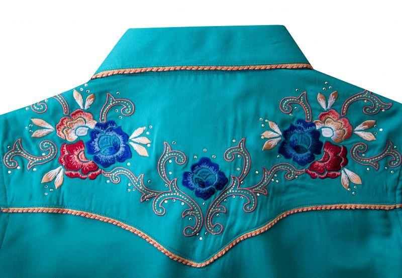画像4: パンハンドルスリム フローラル刺繍・ラインストーン ウエスタン シャツ ブライトターコイズ(長袖/レディース)/Panhandle Slim Long Sleeve Western Shirt(Women's)