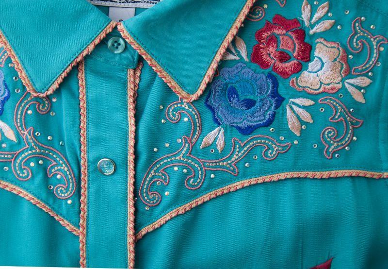 画像3: パンハンドルスリム フローラル刺繍・ラインストーン ウエスタン シャツ ブライトターコイズ(長袖/レディース)/Panhandle Slim Long Sleeve Western Shirt(Women's)