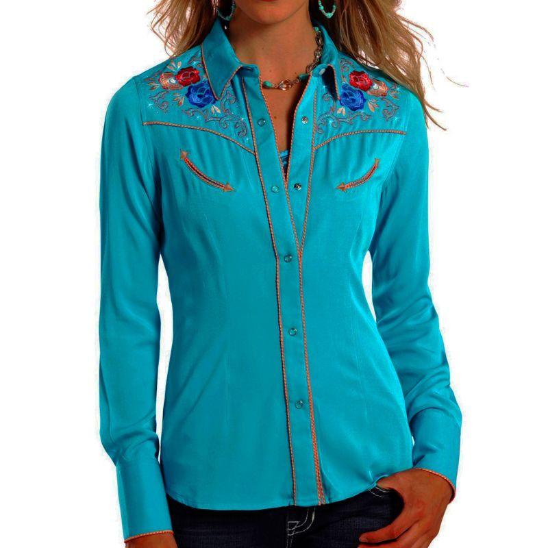 画像1: パンハンドルスリム フローラル刺繍・ラインストーン ウエスタン シャツ ブライトターコイズ(長袖/レディース)/Panhandle Slim Long Sleeve Western Shirt(Women's)