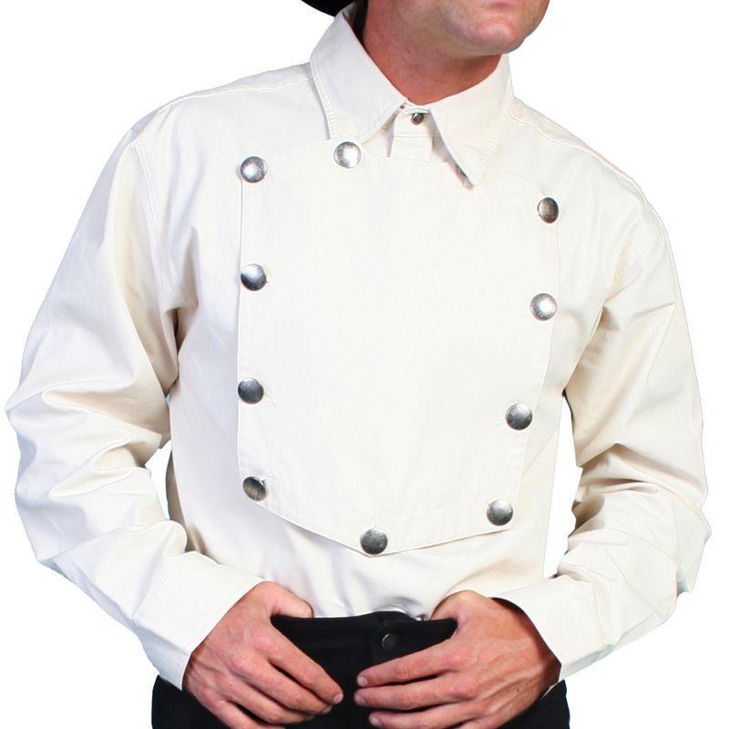 画像1: スカリー ウエスタン ビブフロント キャバルリーシャツ(長袖/ナチュラル)/Scully Range Wear Bib Front Shirt Natural(Men's) (1)