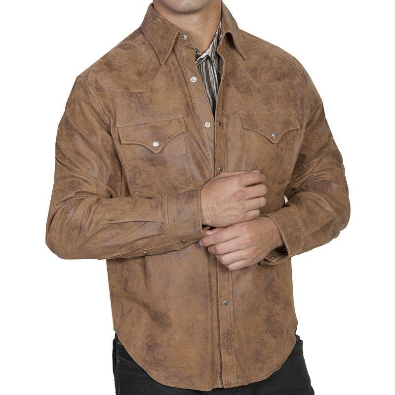 画像1: スカリー フロンティア レザー シャツジャケット(メープル)/Scully Frontier Leather Shirt Jacket Maple(Men's)
