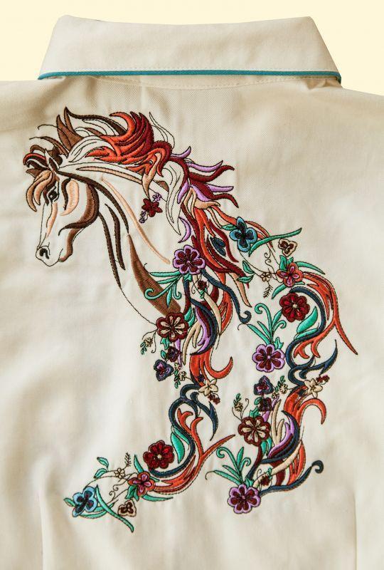 画像4: スカリー 刺繍 ウエスタン シャツ(長袖/クリーム・ホース)/Scully Long Sleeve Western Shirt(Women's)