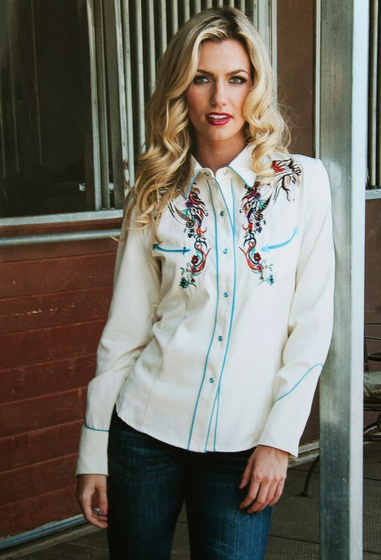 画像2: スカリー 刺繍 ウエスタン シャツ(長袖/クリーム・ホース)/Scully Long Sleeve Western Shirt(Women's)