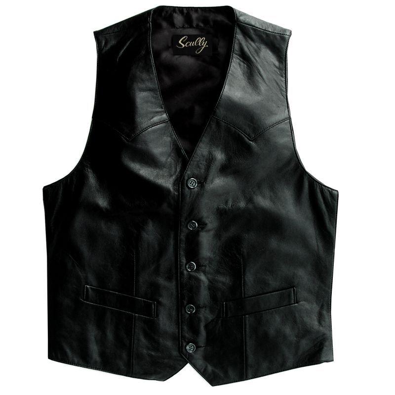 画像1: スカリー ウエスタン ラムレザー ベスト(ブラック)/Scully Western Lamb Leather Vest(Black)
