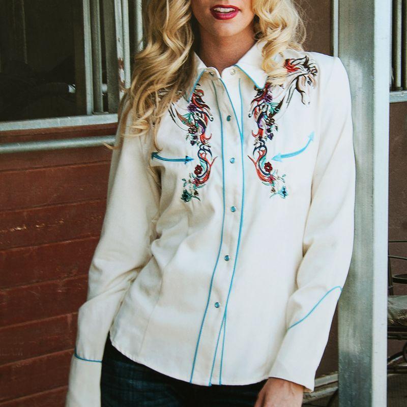 画像1: スカリー 刺繍 ウエスタン シャツ(長袖/クリーム・ホース)/Scully Long Sleeve Western Shirt(Women's) (1)