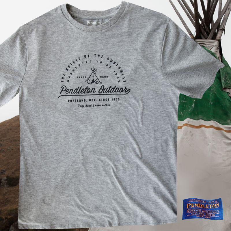 画像1: ペンドルトン アウトドア 半袖 Tシャツ ティーピー(グレー)L/Pendleton SS T-shirt Teepee(Grey)