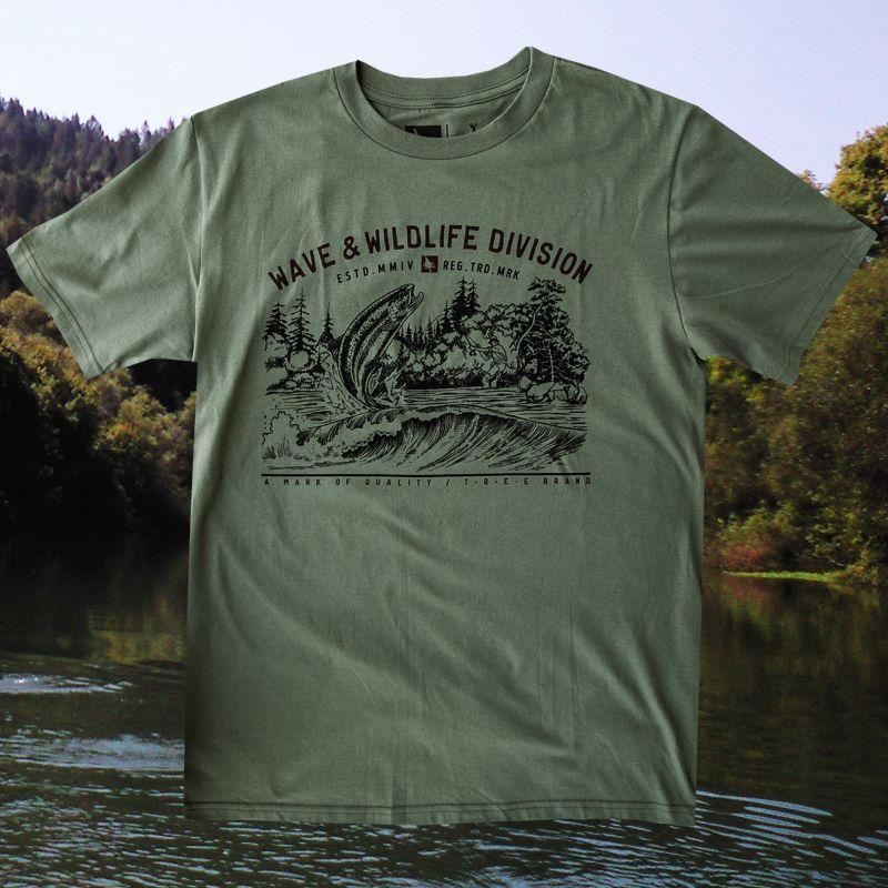 画像1: フィッシング オーガニックコットン 半袖 Tシャツ(ミリタリー)M/Bait T-shirt (Military)