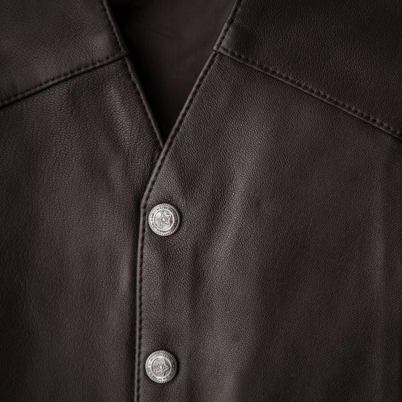 画像2: スカリー スナップフロント ラムレザー ベスト(ブラウン)/Scully Lamb Leather Vest(Brown)