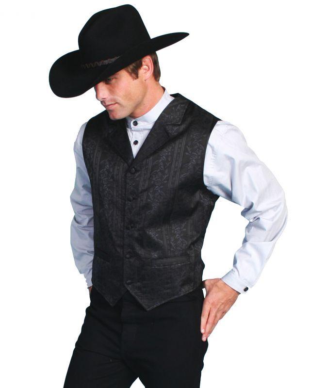 画像2: スカリー オールドウエスト ベスト(ブラックフローラルストライプ)/Scully Old West Vest (Black)