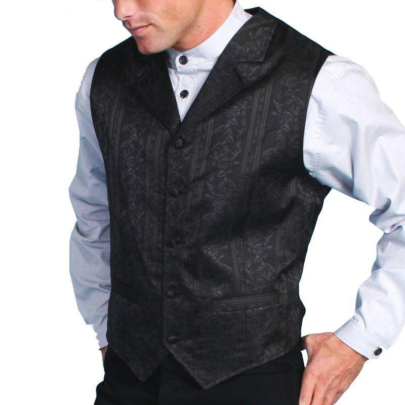 画像1: スカリー オールドウエスト ベスト(ブラックフローラルストライプ)/Scully Old West Vest (Black)