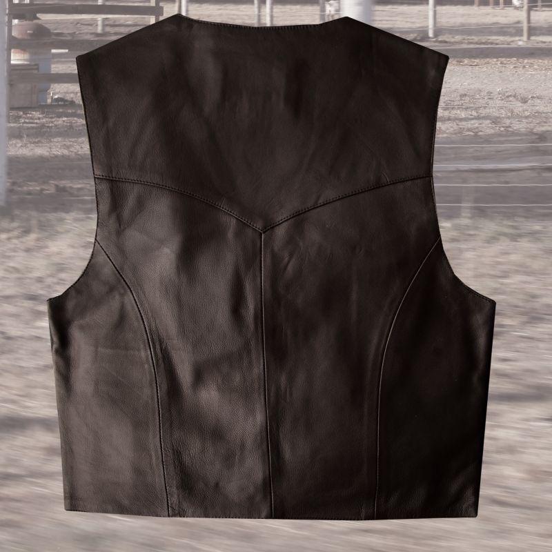 画像4: スカリー スナップフロント ラムレザー ベスト(ブラウン)/Scully Lamb Leather Vest(Brown)