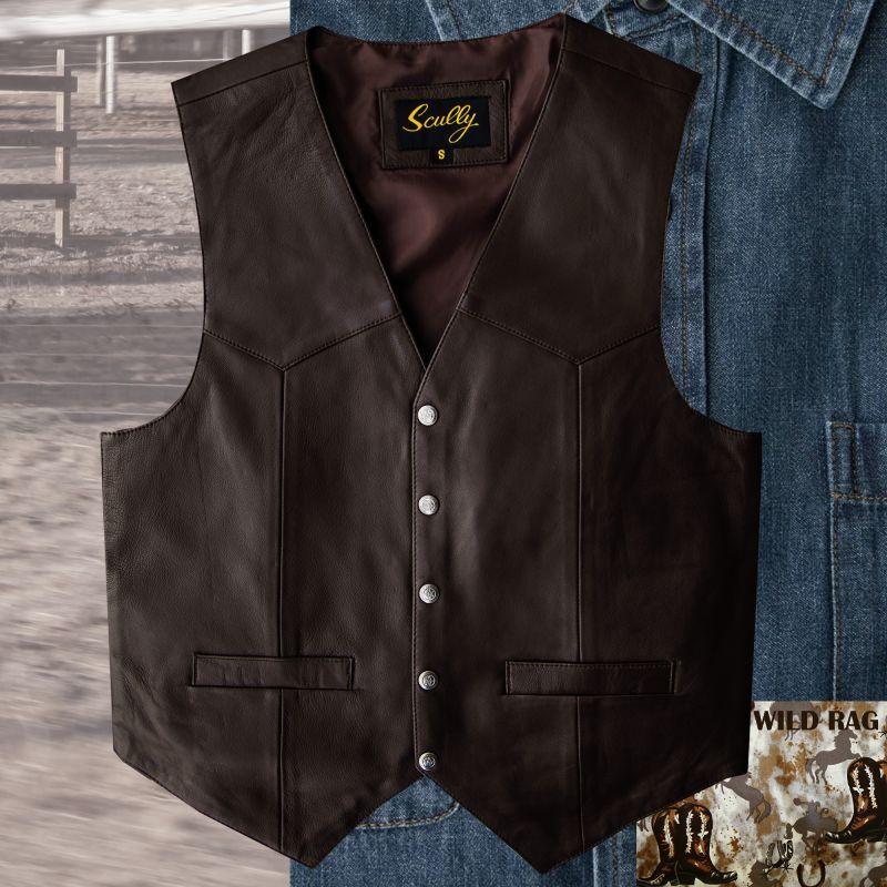 画像1: スカリー スナップフロント ラムレザー ベスト(ブラウン)/Scully Lamb Leather Vest(Brown)