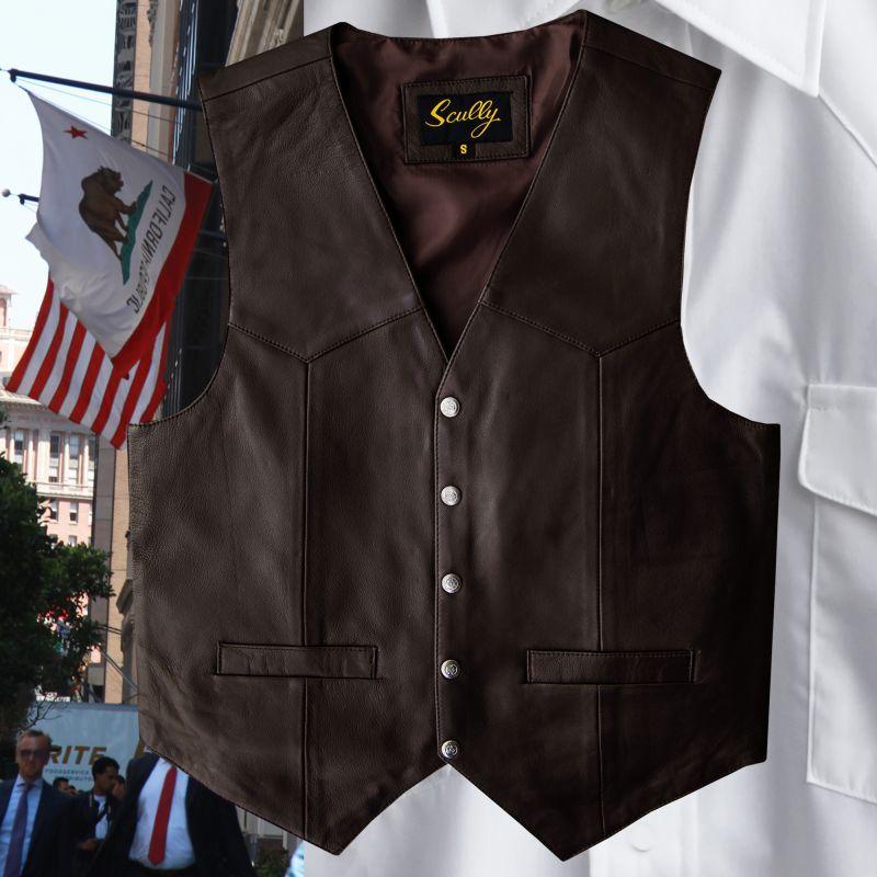 画像3: スカリー スナップフロント ラムレザー ベスト(ブラウン)/Scully Lamb Leather Vest(Brown)