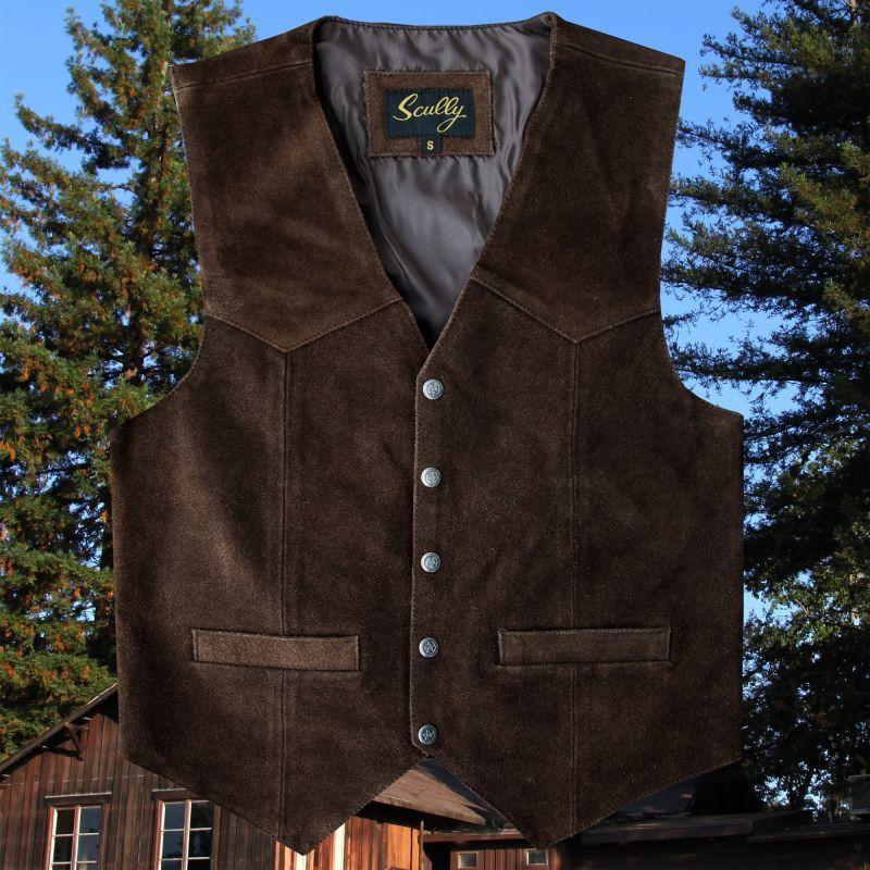 画像1: スカリー スナップフロント カーフスエード ベスト(ブラウン)/Scully Calf Suede Leather Vest(Brown)