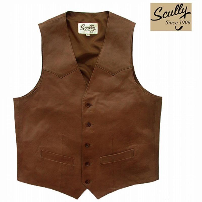 画像1: スカリー ウエスタン  レザー ベスト(アンティークブラウン)/Scully Western Lamb Leather Vest(Antique Brown) (1)