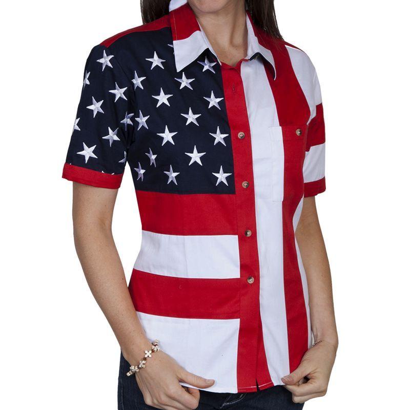 画像1: スカリー USA アメリカ国旗シャツ(半袖/アメリカンフラッグ)/Scully Western Shirt(Women's)