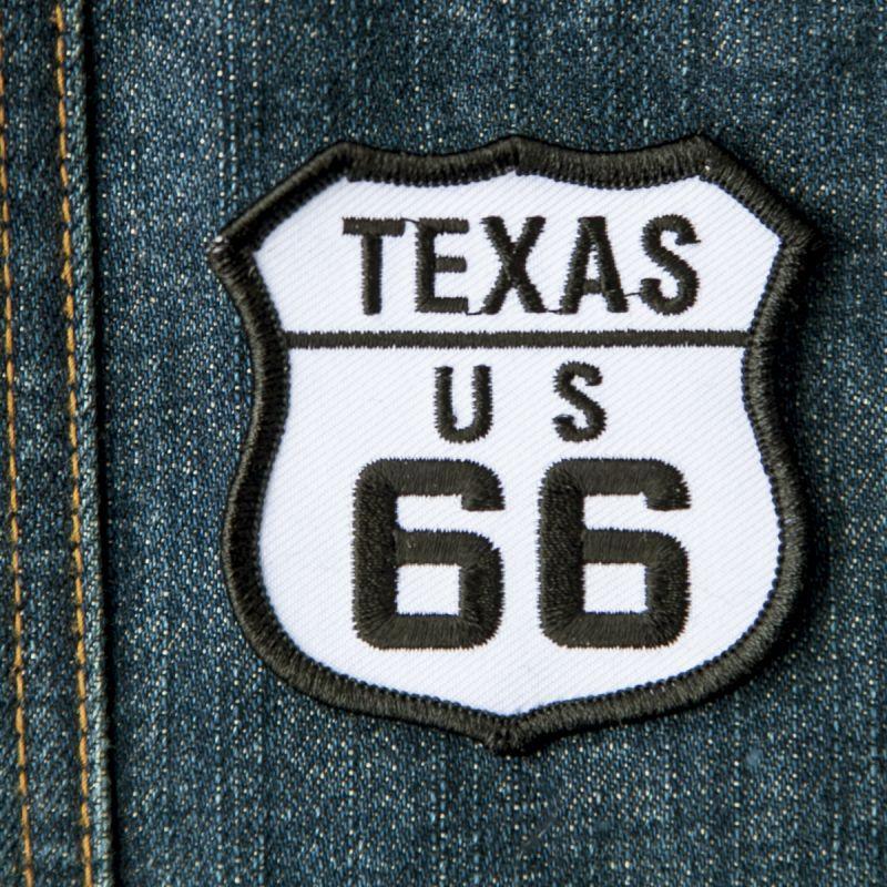 画像1: ワッペン テキサス US ルート66 ブラック・ホワイト/Patch Route 66 (1)