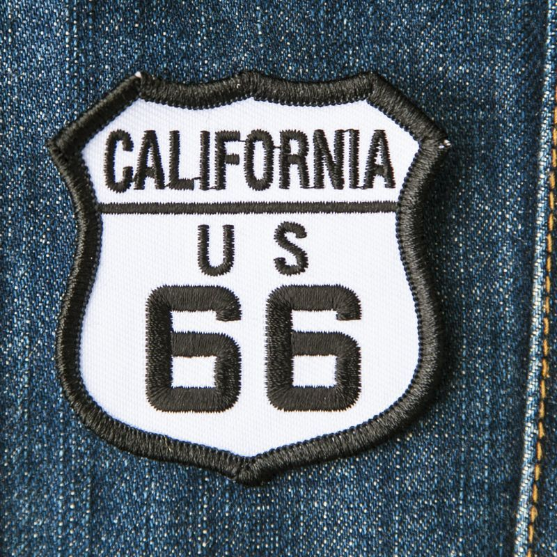 画像1: ワッペン カリフォルニア US ルート66 ブラック・ホワイト/Patch Route 66 (1)