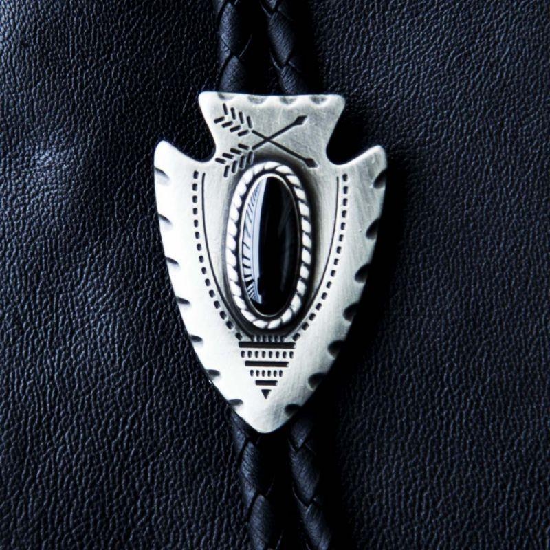 画像1: ウエスタン ボロタイ アローヘッド(ブラック)/Western Bolo Tie