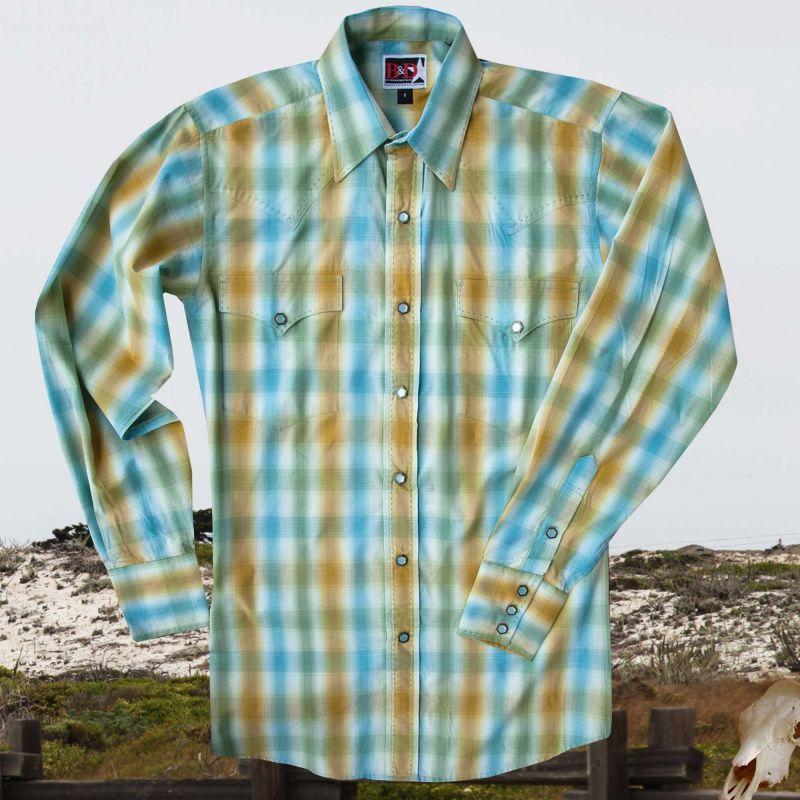 画像1: パンハンドルスリム ブルックス&ダン コレクション ウエスタンシャツ・ターコイズ(長袖)/Brooks&Dunn By Panhandle Slim Long Sleeve Western Shirt(Turquoise)