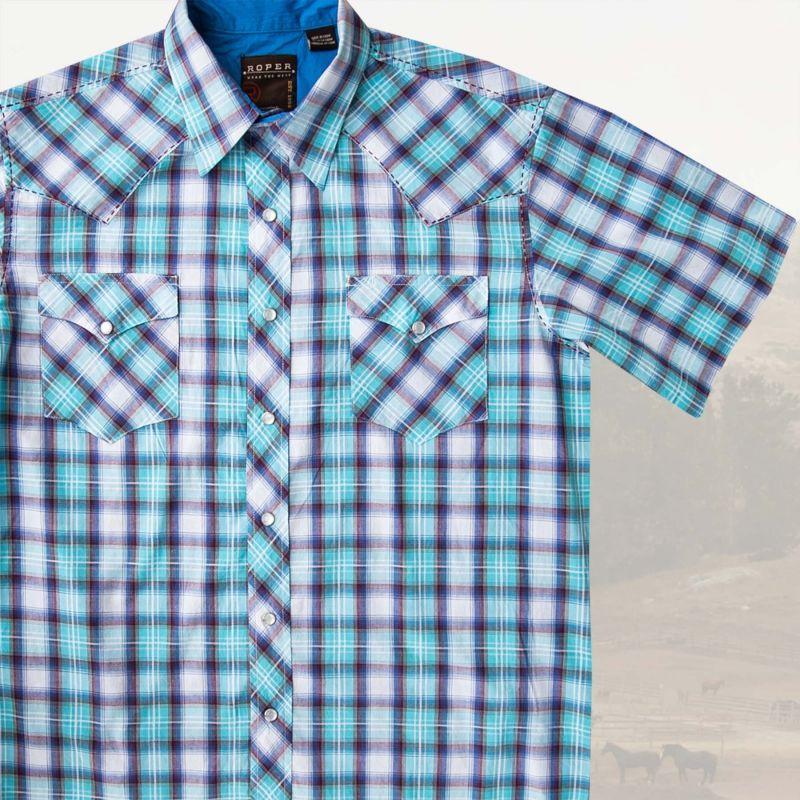 画像1: ローパー ウエスタンシャツ(ターコイズ・ホワイト・ブラウン/半袖)/Roper Short Sleeve Western Shirt