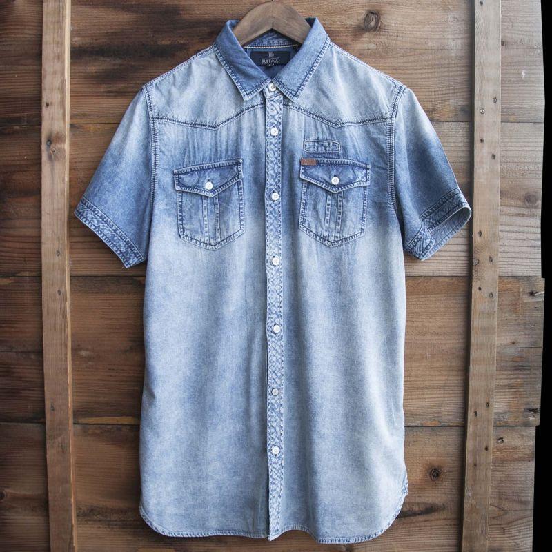 画像1: バッファロー デビッド ビトン 半袖 シャツ(ウオッシュブルー)/Buffalo David Bitton Short Sleeve Shirt