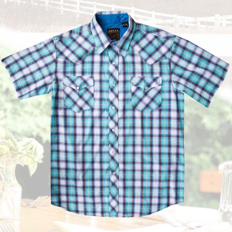 画像3: ローパー ウエスタンシャツ(ターコイズ・ホワイト・ブラウン/半袖)/Roper Short Sleeve Western Shirt