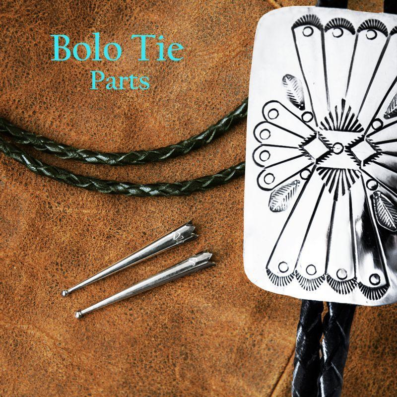 ボロタイ用パーツ レザーコード&スターリングシルバーチップス Bolo Tie Parts Leather Cord