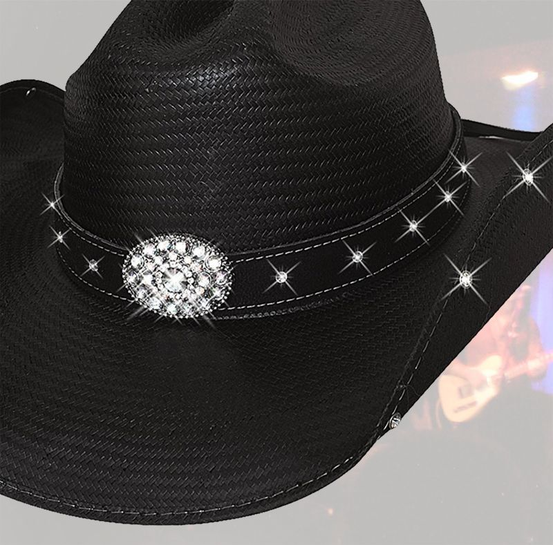 画像2: ブルハイド テリークラーク コレクション ラインストーン ストローハット(ブラック)/Bullhide TERRI CLARK Collection Straw Hat (Black)