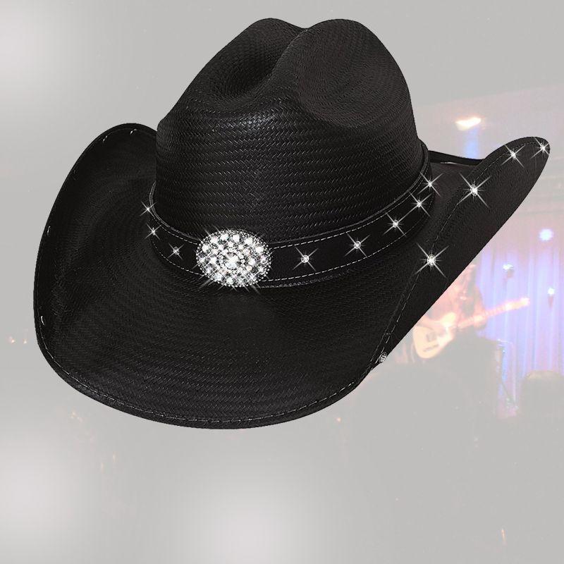 画像1: ブルハイド テリークラーク コレクション ラインストーン ストローハット(ブラック)/Bullhide TERRI CLARK Collection Straw Hat (Black) (1)