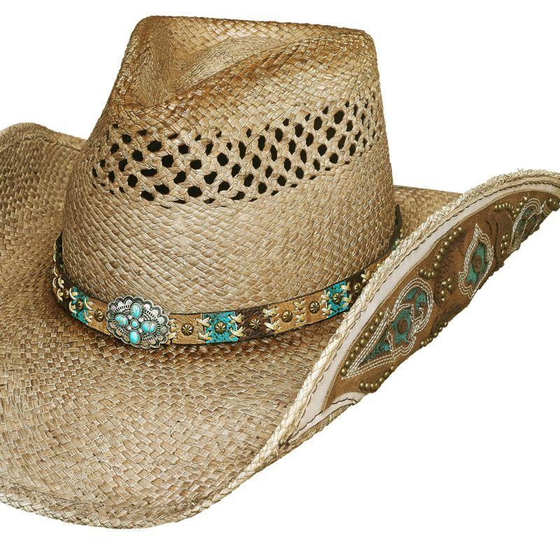 画像1: ハンドウーブン パナマ カウガール ストローハット(ナチュラル)M/Genuine Panama Hand Woven Straw Hat (Natural)