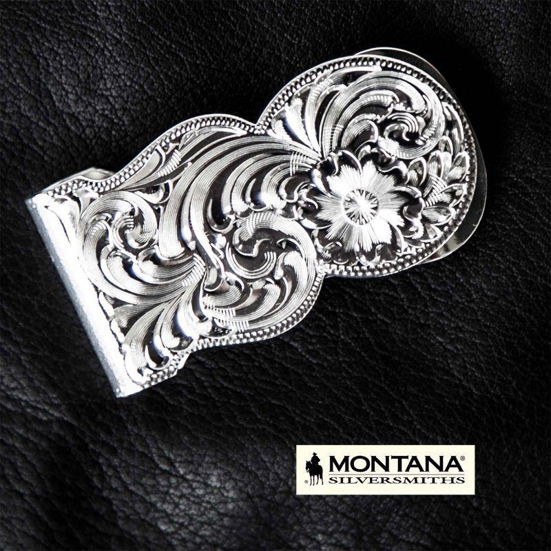 画像1: モンタナシルバースミス マネークリップ シルバー エングレーブ/Montana Silversmiths Fully Engraved Money Clip